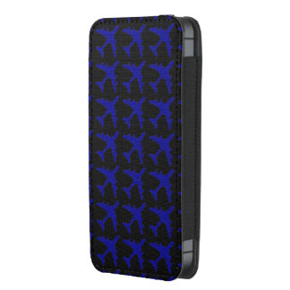 Blue black airplane pattern iphone pouch