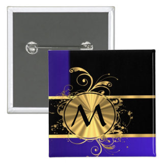 Blue black and gold monogram pins