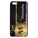 Blue black and gold monogram cover for iPhone 5C