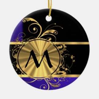 Blue black and gold monogram Double-Sided ceramic round christmas ornament