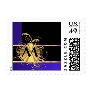 Blue black and gold monogram postage stamp