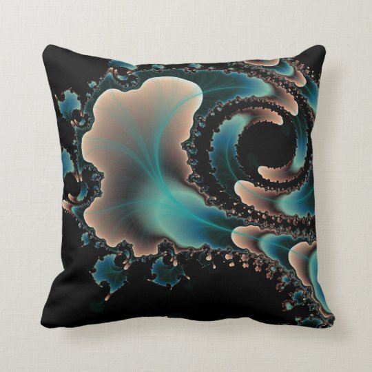 Blue Black and pink fractal art pillow