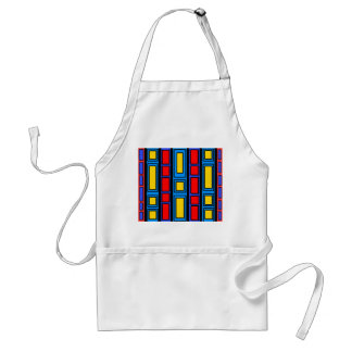 Blue black and red rectangle design adult apron