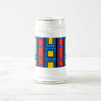 Blue black and red rectangle design 18 oz beer stein
