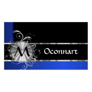 Blue black and silver monogram business card