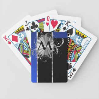 Blue black and silver monogram bicycle poker deck
