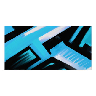 Blue Black and White Abstract Print