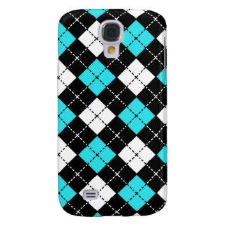 Blue Black and White Argyle Pattern Samsung Galaxy S4 Case