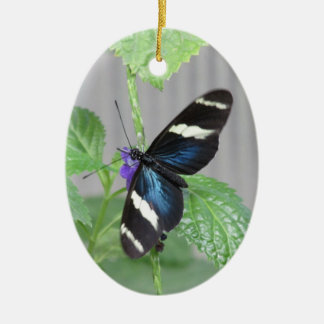 Blue, Black and White Butterfly Ornament