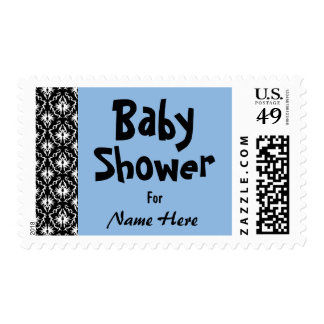 Blue, Black and White Damask Baby Shower Stamp