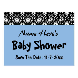 Blue, Black and White Damask Baby Shower Postcard