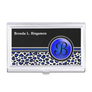 Blue, Black and White Jaguar Print Case For Business Cards