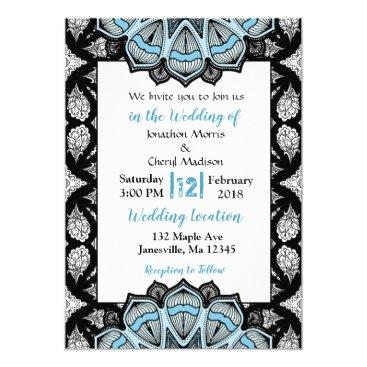 Wedding Themed Blue, Black and White Mandala Wedding Invitations