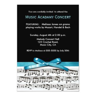"Blue Black and white music recital concert invites 5"" X 7"" Invitation Card"