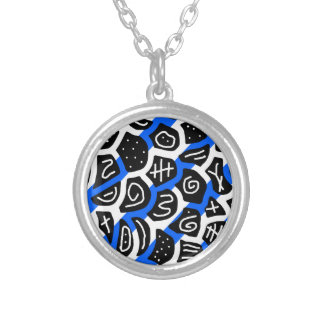 Blue, black and white playful pattern round pendant necklace