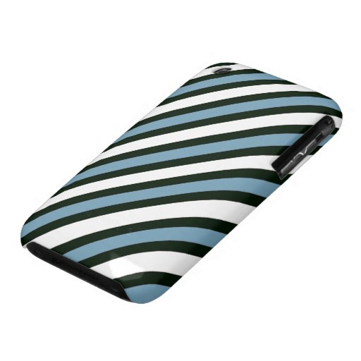 Blue Black and White Stripes iPhone 3 Case-Mate Cases
