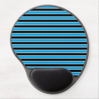 Blue, Black and White Stripes Gel Mouse Pad