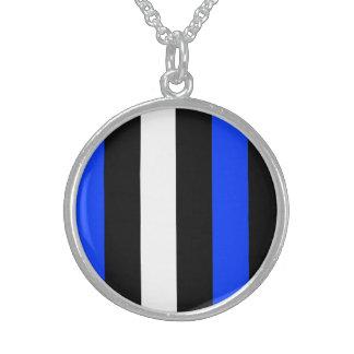 Blue Black And White Stripes Custom Necklace