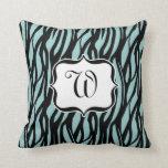 Blue, Black and White Zebra Monogram Cushion