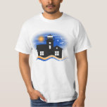 Blue Black and Yellow Lighthouse Seascape Mens Shirt