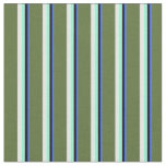 [ Thumbnail: Blue, Black, Aquamarine, White & Dark Olive Green Fabric ]