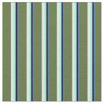 [ Thumbnail: Blue, Black, Aquamarine, White & Dark Olive Green Fabric ]