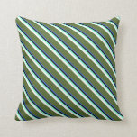 [ Thumbnail: Blue, Black, Aquamarine, White & Dark Olive Green Throw Pillow ]