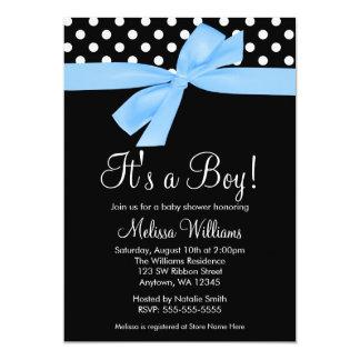 Blue Black Bow Polka Dot Baby Shower Invitations