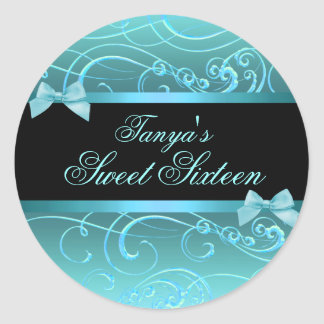 Blue/Black Bow & Swirl Sweet 16 Envelope seal