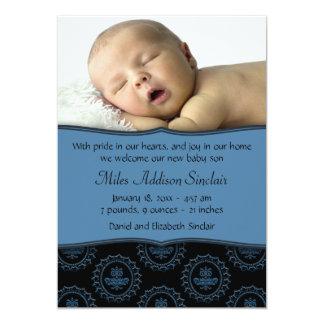 Blue Black Boys Photo Birth Announcement