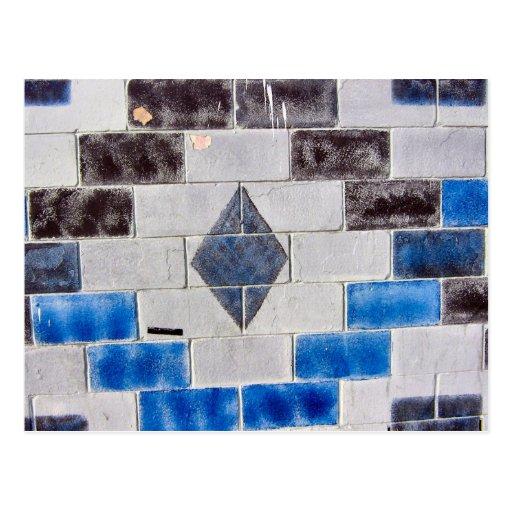 blue black bricks post card
