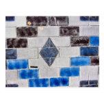 blue black bricks postcard
