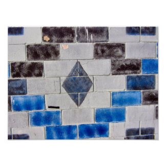 blue black bricks posters