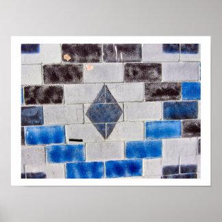 blue black bricks print