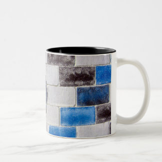 blue black bricks Two-Tone coffee mug