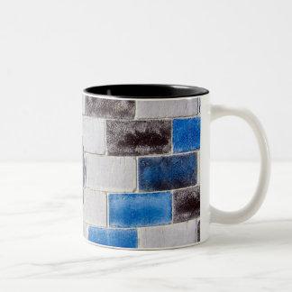 blue black bricks Two-Tone coffee mug