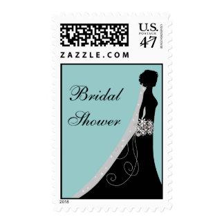 Blue Black Bridal Shower Postage