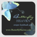 Blue   Black Butterfly Business Marketing Square Sticker