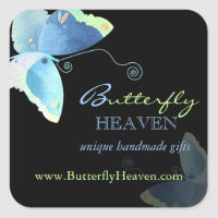 Blue + Black Butterfly Business Marketing Stickers