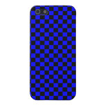 Blue & Black Checkerboard Case For iPhone 5