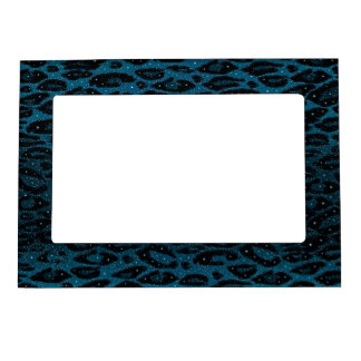 Blue Black Cheetah Stars Magnetic Picture Frame