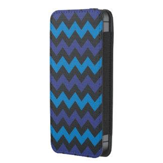 Blue black chevron pattern iphone pouch
