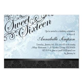 Blue & Black Chic Floral Damask Sweet16 Invite