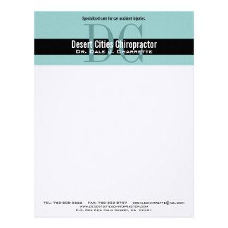 Blue Black Chiropractor Double Monogram Letterhead