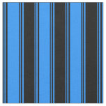 [ Thumbnail: Blue & Black Colored Pattern of Stripes Fabric ]