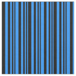 [ Thumbnail: Blue & Black Colored Stripes Pattern Fabric ]