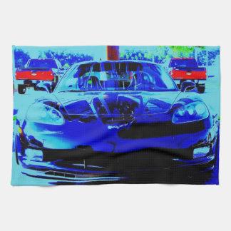 Blue & Black Corvette Z06 altered photo Kitchen Towel