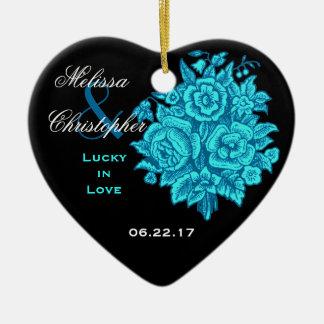 BLUE BLACK Custom Bride Groom Wedding Rose Bouquet Ceramic Ornament