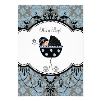 Blue Black Damask Baby Boy Shower Invitations