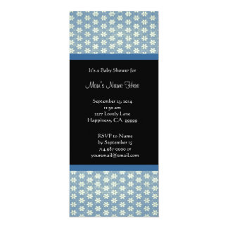 Blue Black Damask Baby Shower Invitations